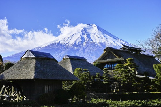mount-fuji-rising-above-houses-in-japan